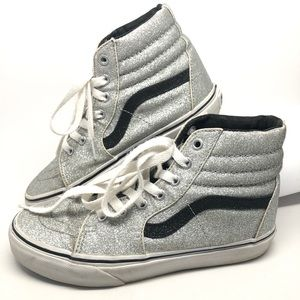 Silver Glitter High Top Vans Off The Wall Shoes